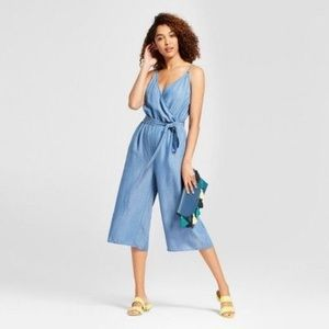 Target A New Day Denim Chambray Cropped Jumpsuit